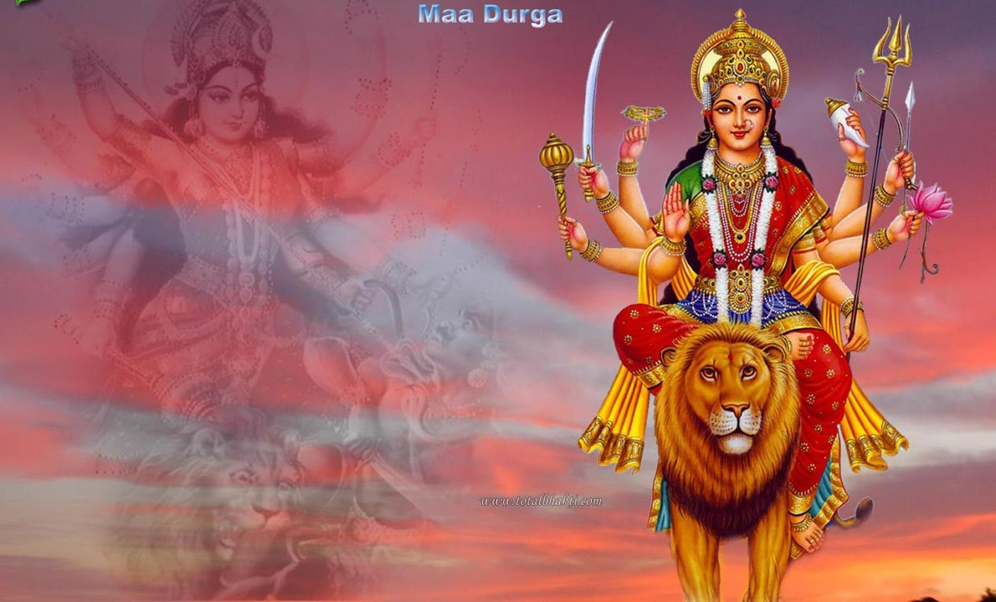 Goddess Durga on Yellow Lion, Her Vital Mount